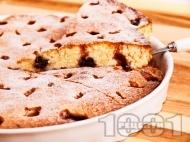 Рецепта Лесен сладкиш / кекс с прясно мляко, вишни и ванилия (с бакпулвер)